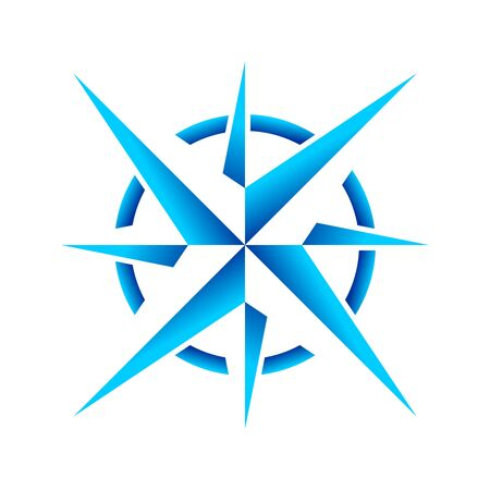 Compass Rose Navigation Cool Ice Star Vector Symbol Graphic Logo Design Template