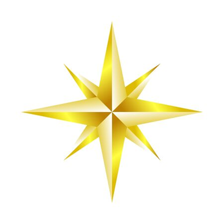 Compass Rose Navigation Golden Star Vector Symbol Graphic Logo Design Template  イラスト・ベクター素材
