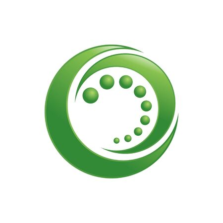 Organic Circle Green Crescent Shape Vector Symbol Graphic Logo Design Template  イラスト・ベクター素材