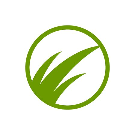 Green Grass Simple Abstract Vector Symbol Graphic Logo Design Template