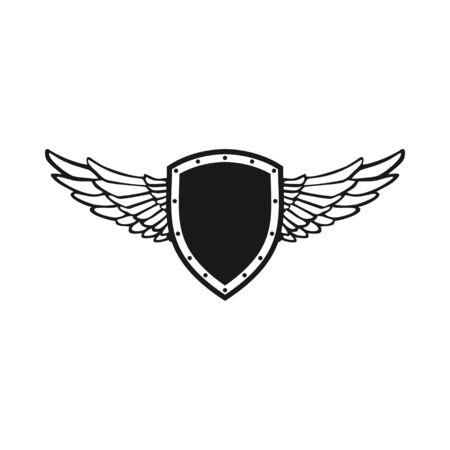 Bouclier de l'aile gardien Symbole emblème vecteur modèle de conception de logo graphique