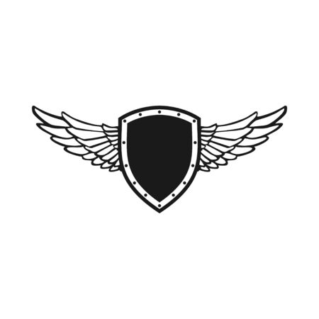 Guardian Wing Shield Vector Emblem Symbol Graphic Logo Design Template Illustration
