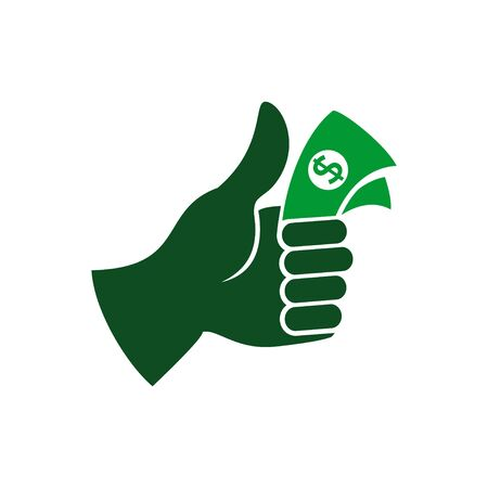 Thumb Up Cash Money Vector Symbol Graphic Logo Design Template  イラスト・ベクター素材