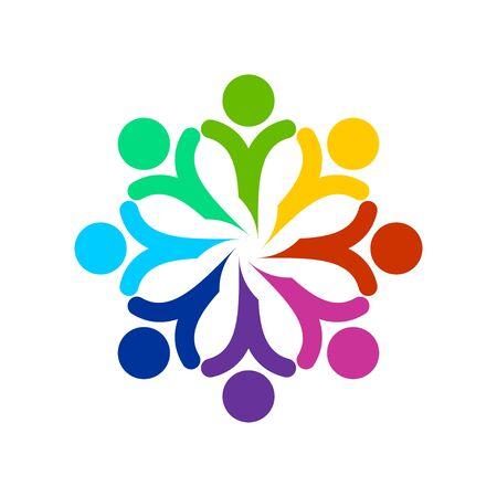 Szczęśliwi abstrakcjonistyczni ludzie rysunek geometryczny wektor symbol graficzny szablon projektu logo Logo