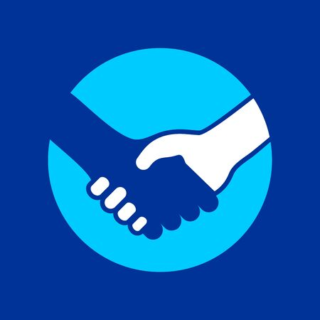 Handshake Circle Icon Colored Background Vector Symbol Graphic Logo Design Template  イラスト・ベクター素材