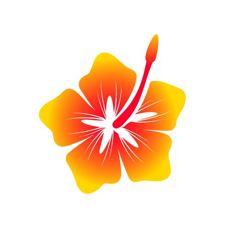 Hawaiian Hibiscus Flower Vector Symbol Graphic Logo Design Template