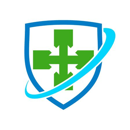 Healthy Cross Shield Protection Vector Symbol Graphic Logo Design Template