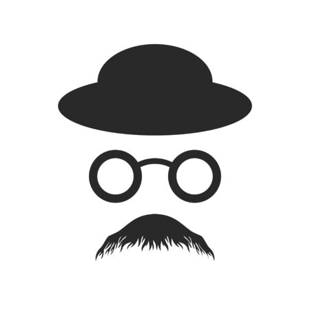 Anonymous Profile Old Style Glasses Hat Vector Symbol Graphic Logo Design Template