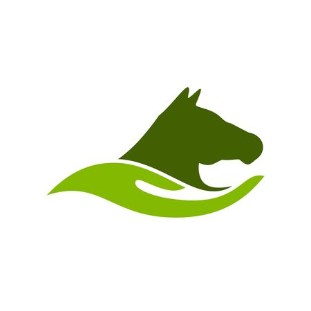 Horse Care Farm Ranch Abstract Hand Shape Symbol  イラスト・ベクター素材