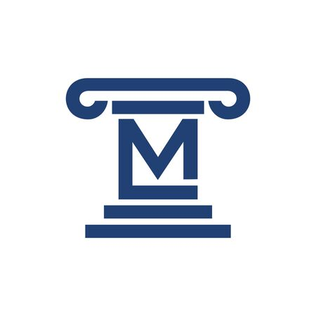 Law Pillar Initial M Lettermark Symbol Graphic