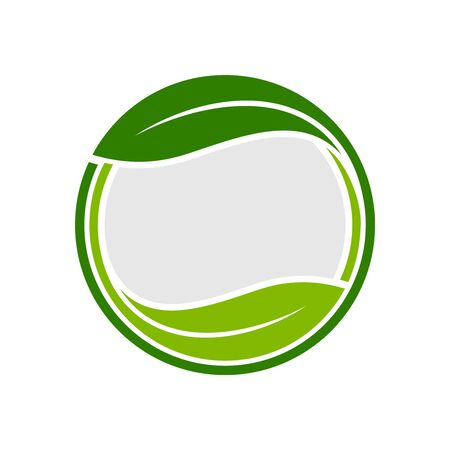 Organic Leaf Circle Emblem Symbol Graphic