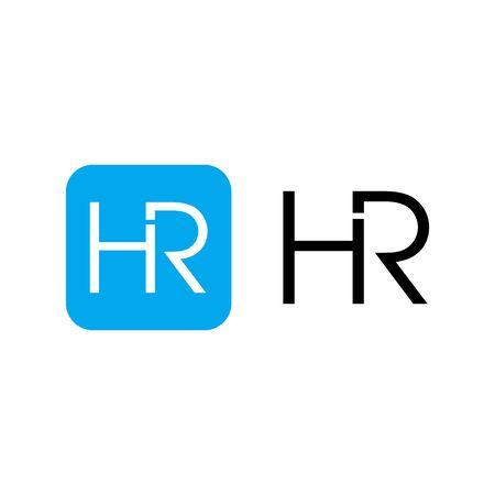 HR initials Letter Logo Design Template 向量圖像