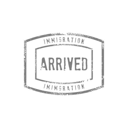 Immigration Arrived Stamp Drawing Vector Graphic