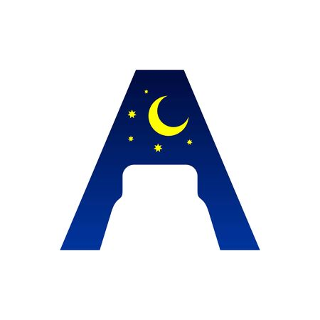 Initial Letter A Bed Negative Space Symbol Design  イラスト・ベクター素材