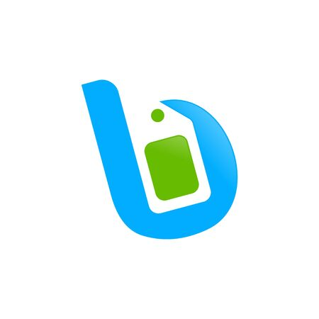 Initial B Letter Sell Price Tag Symbol Icon Design  イラスト・ベクター素材