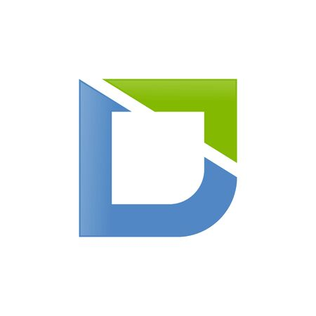 Modern Letter D Initial Cut Vector Symbol Graphic Icon Design Template  イラスト・ベクター素材