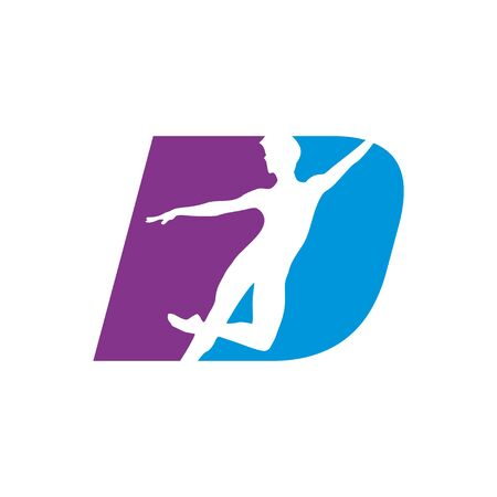 Letter D Shape Dancing Silhouette Vector Symbol Graphic Logo Icon Design Template  イラスト・ベクター素材