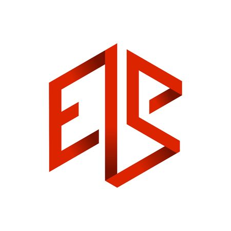 ES Initials Lettermark 3D Red Cube Frame Vector Symbol Graphic Logo Icon Design Template  イラスト・ベクター素材