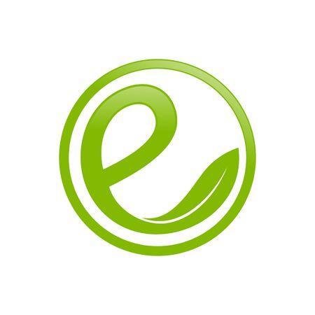 Green Circular Organic Initial e Lettermark Vector Symbol Graphic Logo Icon Design Template 版權商用圖片 - 138991212
