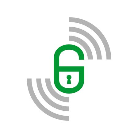Initial G Smart Lock Remote Vector Symbol Graphic Logo Icon Design Template