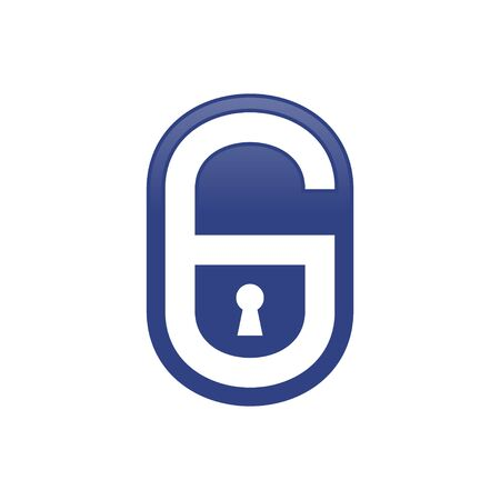 Padlock Shape Initial G Lettermark Vector Symbol Graphic Logo Icon Design Template