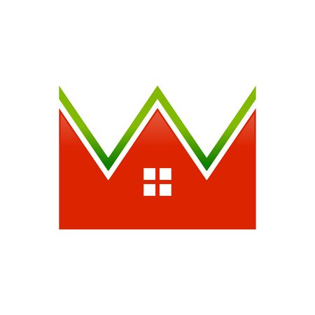Fresh Housing Real Estate Crown Shape Vector Symbol Graphic Logo Icon Design Template