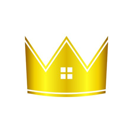 Golden Real Estate House Crown Vector Symbol Graphic Logo Icon Design Template  イラスト・ベクター素材