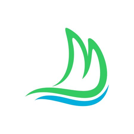 Mountain Shore Ocean Wave Initial M Lettermark Vector Symbol Graphic Logo Icon Design Template