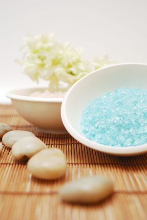 Salts in a resort - Accessories for wellness, spa or relaxing bath aromatic Salts and accessory - Zen culture Stock Photo - 2574936
