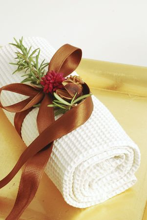 Towels assortment for bathroom or wellness therapy isolated photo