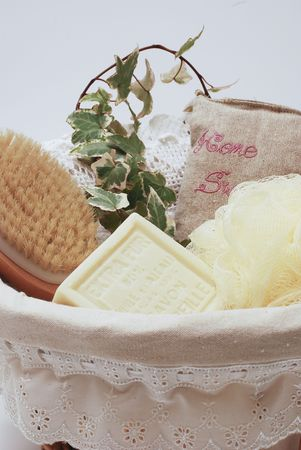 Towels and soap assortment for bathroom or wellness therapy photo