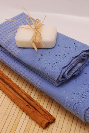 SPA soap and towels - accessories for wellness or relaxing Stock Photo - 2576826