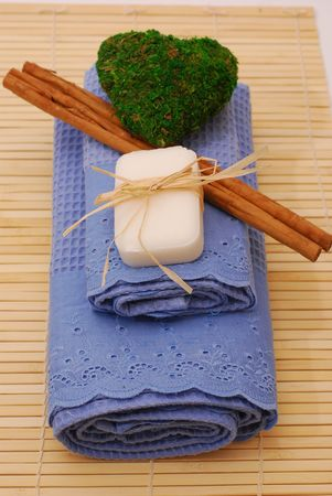 SPA soap and towels - accessories for wellness or relaxing Stock Photo - 2576802