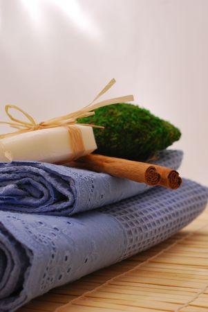SPA soap and towels - accessories for wellness or relaxing Stock Photo - 2576524