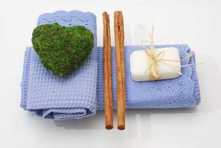 SPA soap and towels - accessories for wellness or relaxing photo