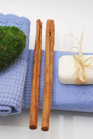 SPA soap and towels - accessories for wellness or relaxing Stock Photo - 2576665