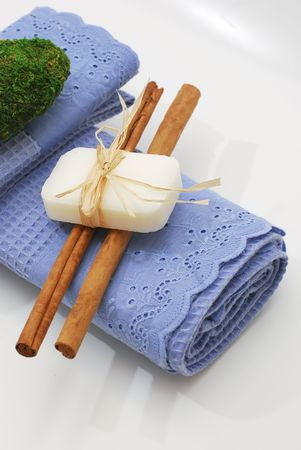 SPA soap and towels - accessories for wellness or relaxing Stock Photo - 2576710