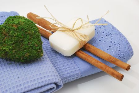 SPA soap and towels - accessories for wellness or relaxing Stock Photo - 2576726