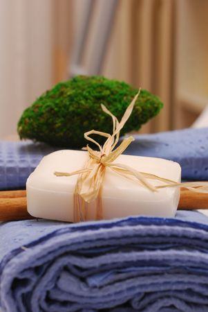 SPA soap and towels - accessories for wellness or relaxing Stock Photo - 2576523