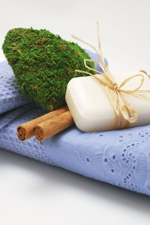 SPA soap and towels - accessories for wellness or relaxing