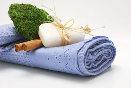 SPA soap and towels - accessories for wellness or relaxing Stock Photo - 2576659