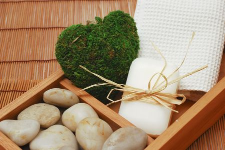 weakening: Accessories for wellness, spa or relaxing bath and Soap - accessory of weakening and improving procedures of pleasure therapys - Zen compositionr Stock Photo