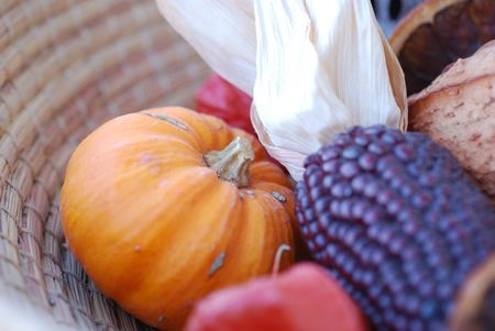 Pumpkin and other autumn things composition. Fall and autumnal concept. photo