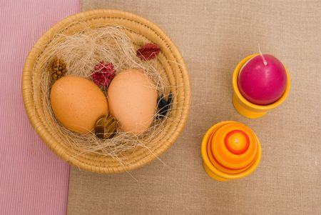 Colorful Easter eggs in a basket Stock Photo - 2603886