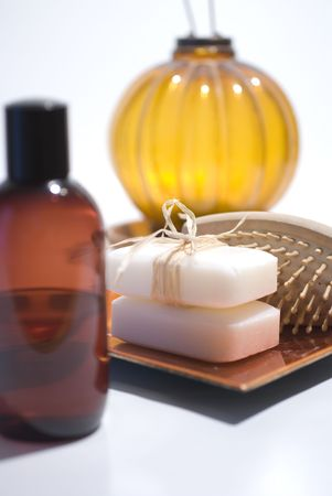 Soap and accessories for wellness, spa or relaxing photo