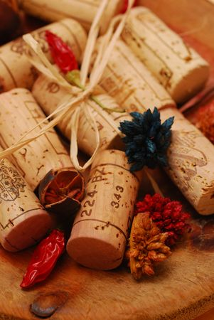 vat: Various Corks and Golden plate decoration Stock Photo