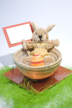 comfy: Easter concept Colorful bunny in a basket
