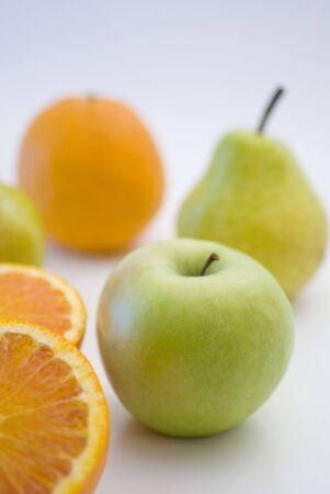 orange, apple and pear fresh fruit isolated on white Stock Photo