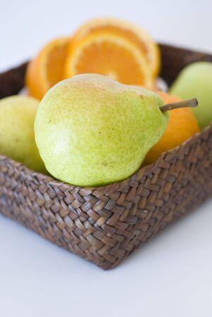 orange, apple and pear fresh fruit isolated on white photo