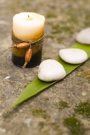 zen Aromatic candles and stones photo